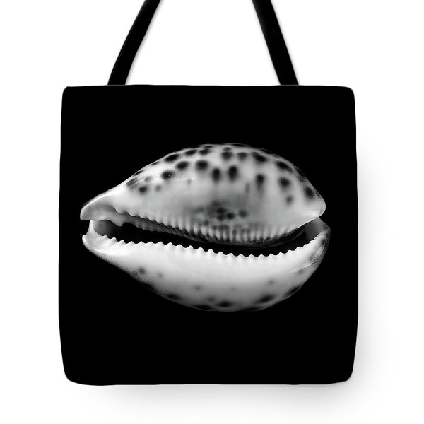 Cowry  Shell In Black And White Tote Bag by Jim Hughes