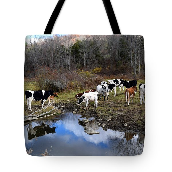 Cows And Reflection New York State Tote Bag