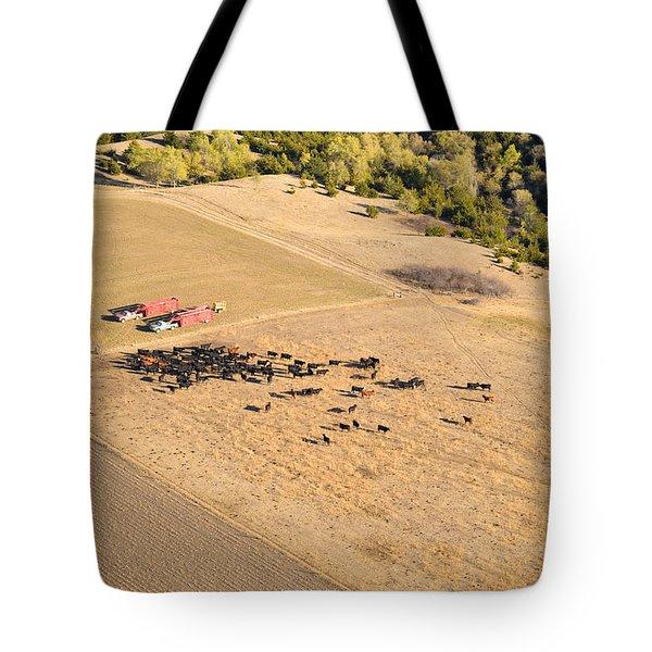 Cows And Trucks Tote Bag