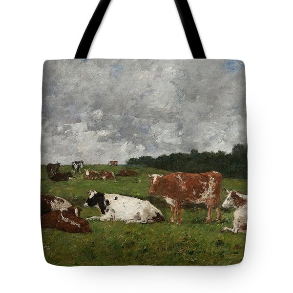 Cows At The Pasture Tote Bag by Eugene Louis Boudin