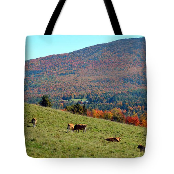 Cows Enjoying Vermont Autumn Tote Bag by Catherine Sherman