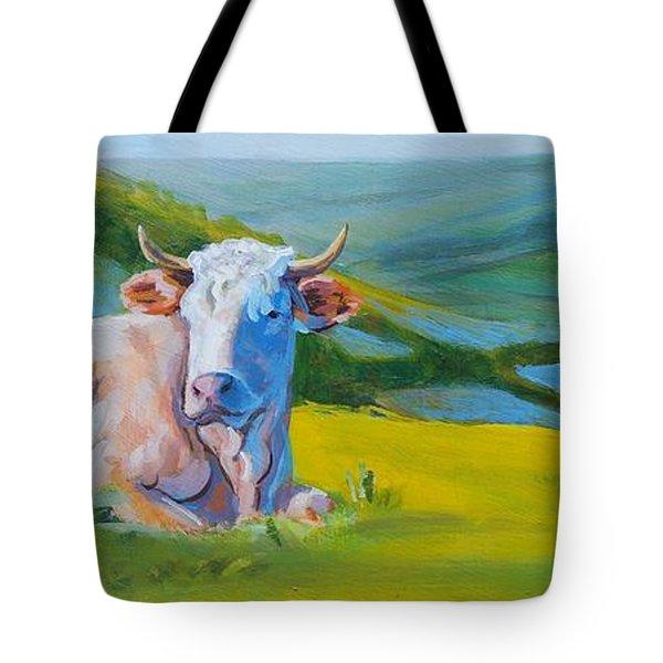 Cows Lying Down In Devon Hills Tote Bag