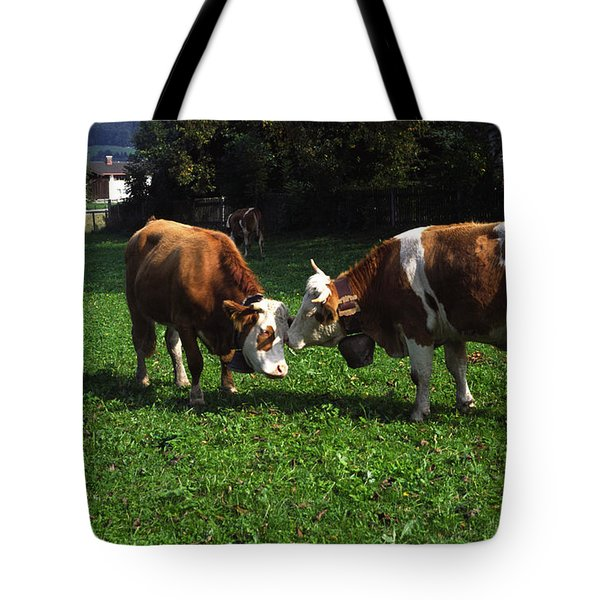 Cows Nuzzling Tote Bag by Sally Weigand