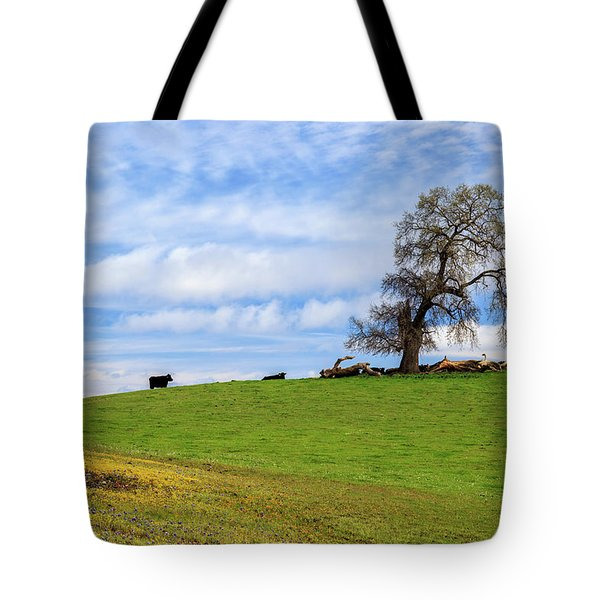 Tote Bag featuring the photograph Cows On A Spring Hill by James Eddy