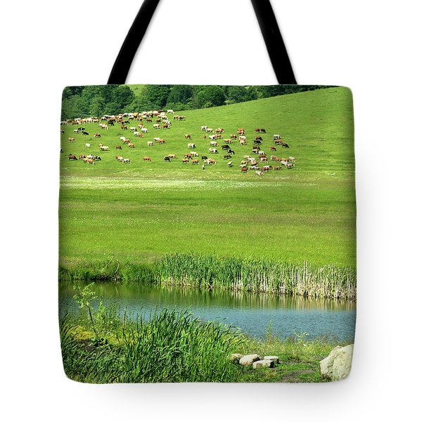 Cows On Pasture Near Lake Tote Bag