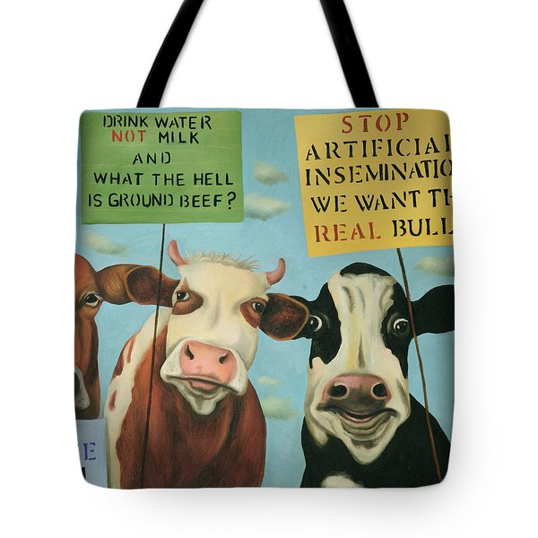 Cows On Strike Tote Bag by Leah Saulnier The Painting Maniac