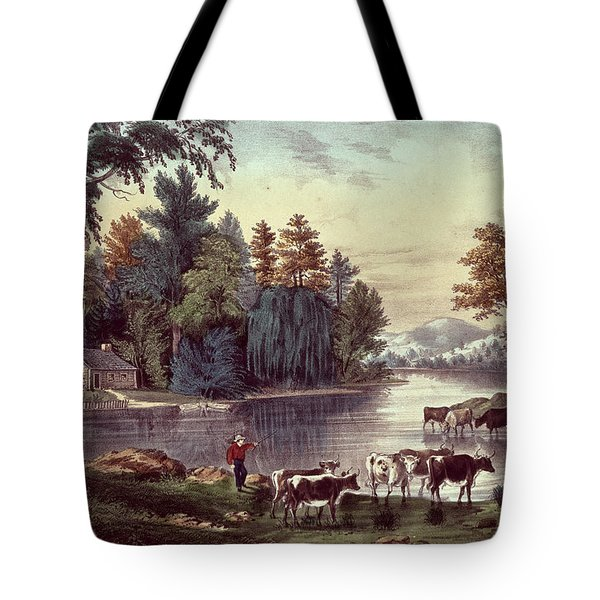 Cows On The Shore Of A Lake Tote Bag by Currier and Ives