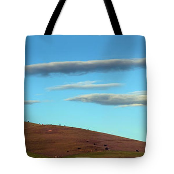 Cows Peacefully Graze On The Hills Of Sonoma County California Tote Bag by Wernher Krutein