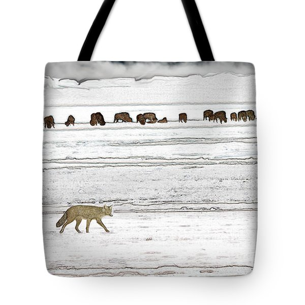 Tote Bag featuring the digital art Coyote And Bison by Kae Cheatham