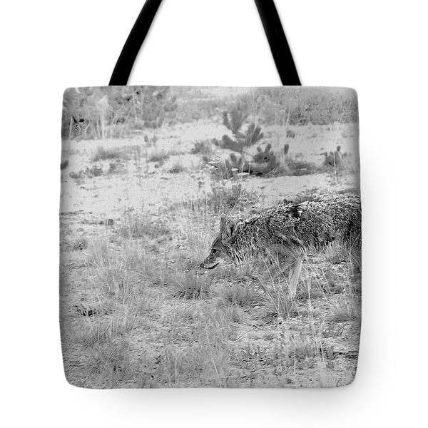 Coyote Blending In Tote Bag by Christine Till