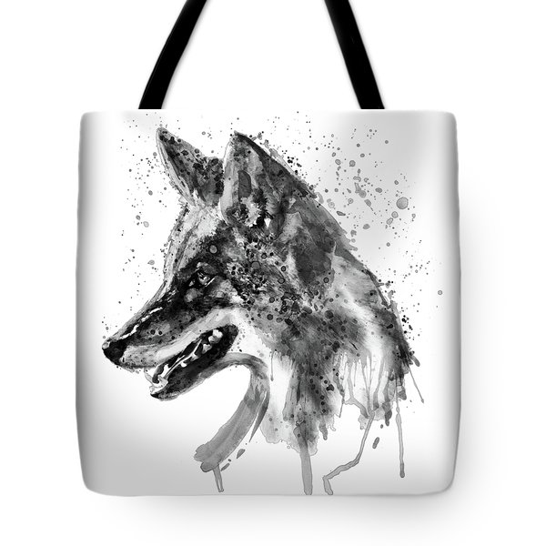 Tote Bag featuring the mixed media Coyote Head Black And White by Marian Voicu