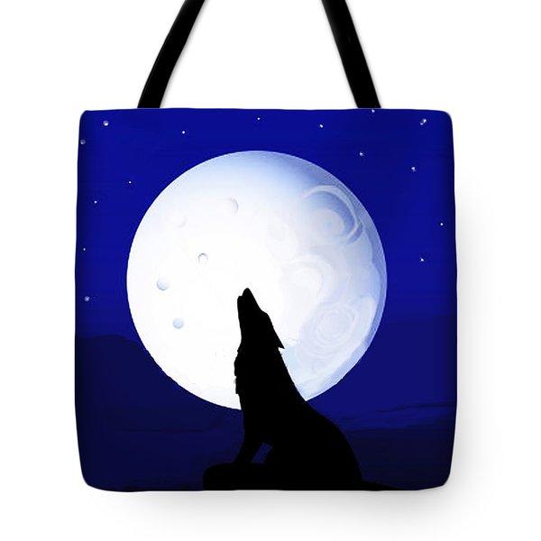 Tote Bag featuring the digital art Coyote Moon - Tucson, Arizona by Vagabond Folk Art - Virginia Vivier