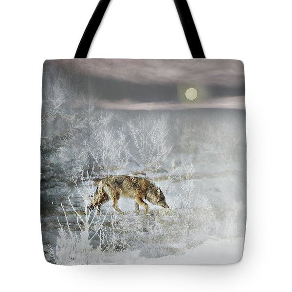 Coyote On A Winter Night Tote Bag