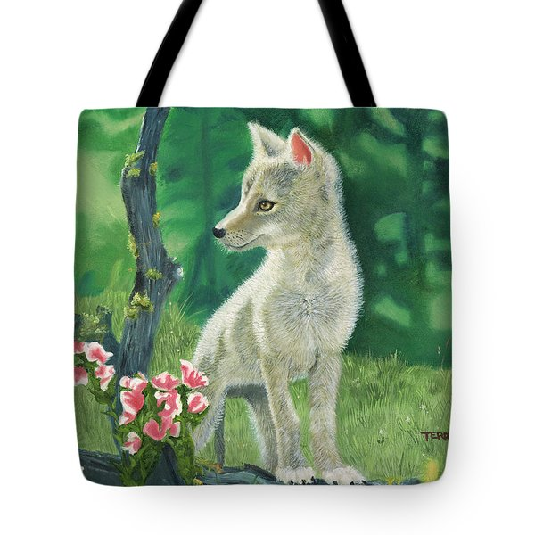 Coyote Pup Tote Bag by Terry Lewey