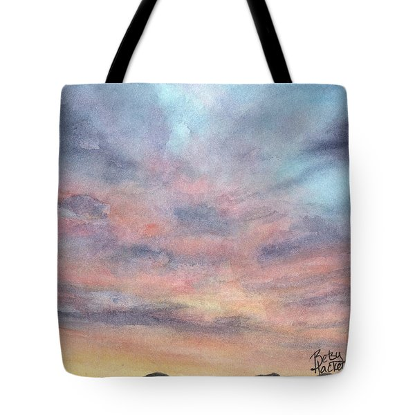 Tote Bag featuring the painting Coyote Sunset by Betsy Hackett
