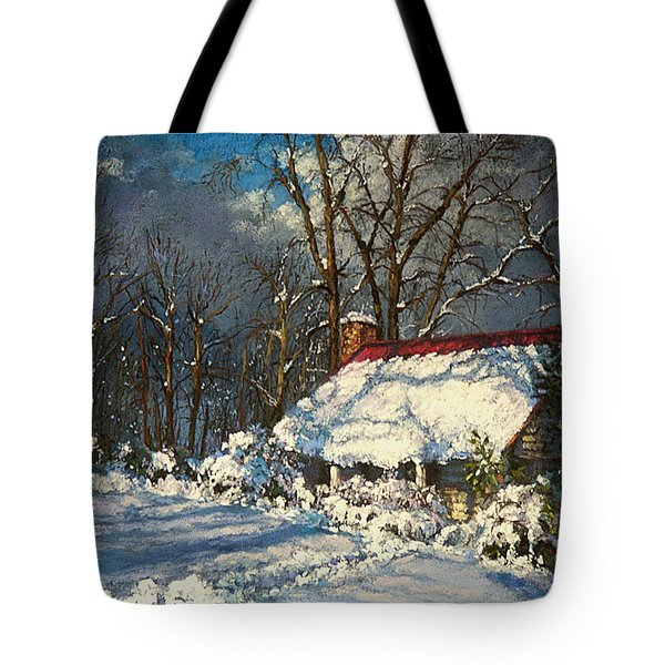Cozy In The Snow Tote Bag by L Diane Johnson
