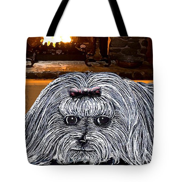 Tote Bag featuring the drawing Cozy Maltese by Michelle Audas