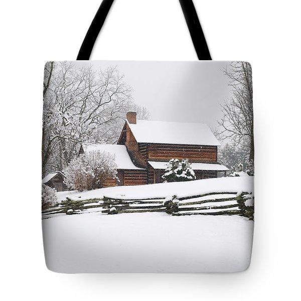 Cozy Snow Cabin Tote Bag by J K York