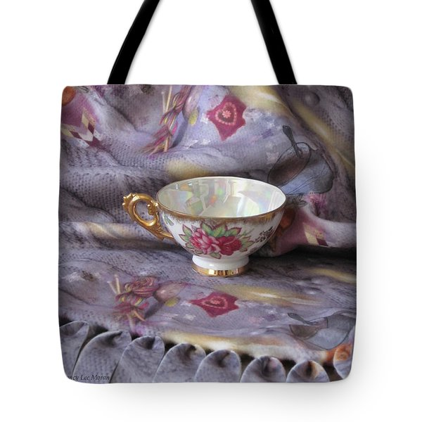 Tote Bag featuring the photograph Cozy Time With Tea And Fleece Blanket by Nancy Lee Moran