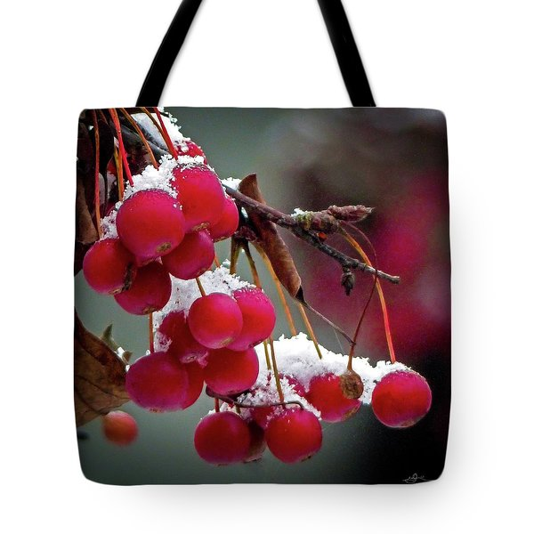Crab Apples Snow Tote Bag