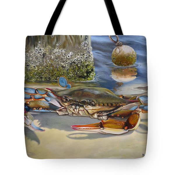 Tote Bag featuring the painting Crab On The Shoreline by Phyllis Beiser