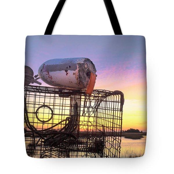 Crab Trapped - Sunrise Sunset Photo Art Tote Bag