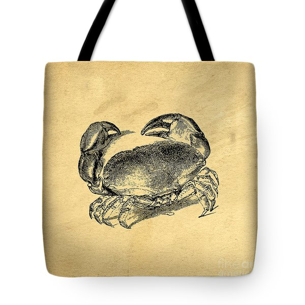 Tote Bag featuring the drawing Crab Vintage by Edward Fielding