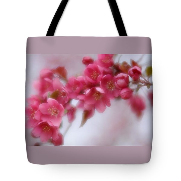 Tote Bag featuring the photograph Crabapple Blossom - Dark Pink by Diane Alexander