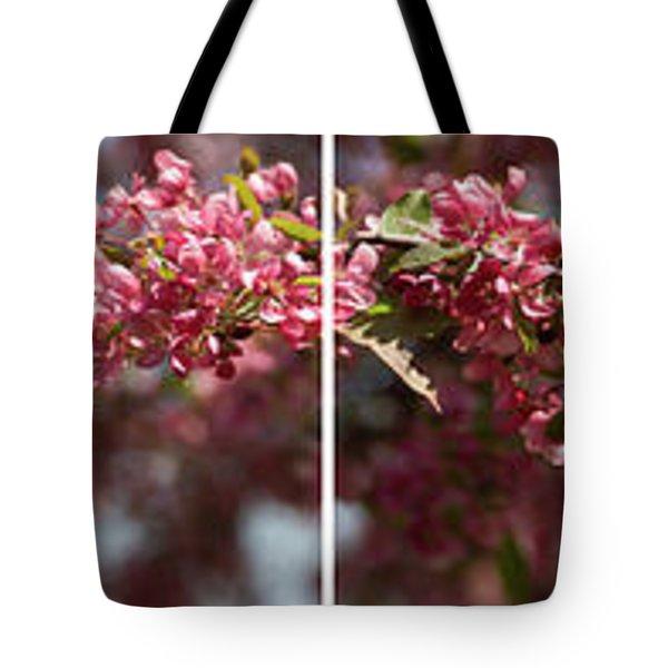Crabapple In Spring Panoramic Map Tote Bag
