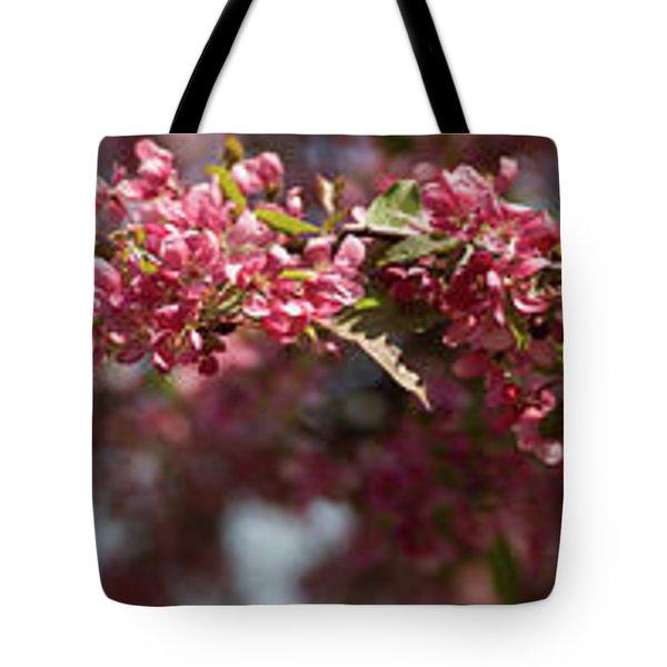 Crabapple In Spring Panoramic Tote Bag