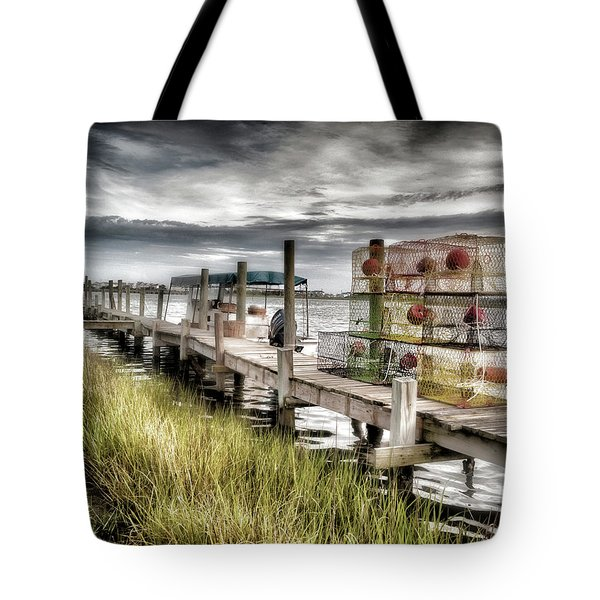 Crabber's Dock, Surf City, North Carolina Tote Bag by John Pagliuca