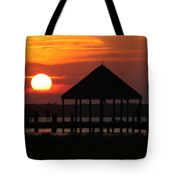 Crabbing From The Dock At Sunset Tote Bag by Robert Banach
