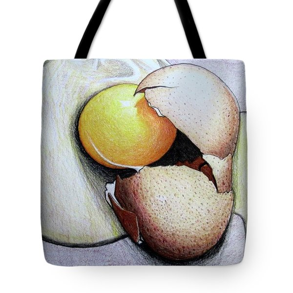 Tote Bag featuring the drawing Cracked Egg by Mary Ellen Frazee