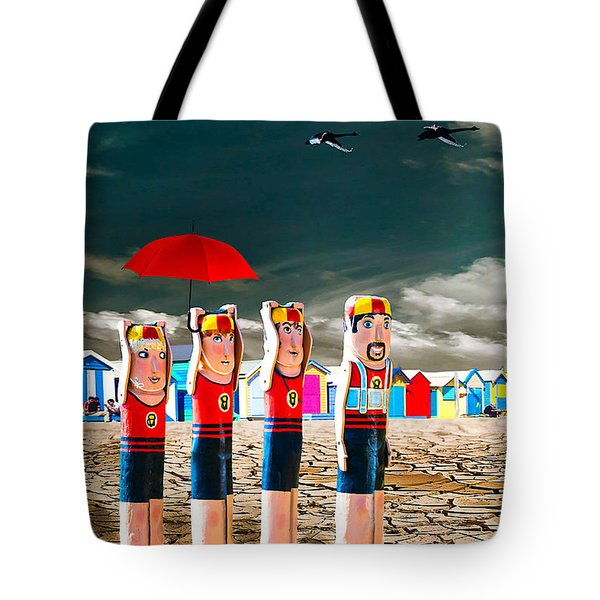 Tote Bag featuring the photograph Cracked V - The Life Guards by Chris Armytage