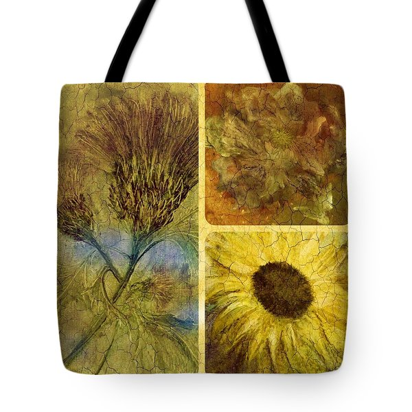 Crackled Floral Tote Bag by Carol Rowland