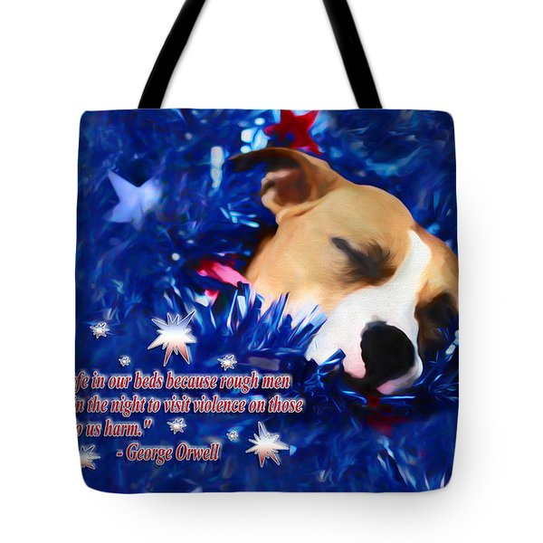 Tote Bag featuring the photograph Cradled By A Blanket Of Stars And Stripes - Quote by Shelley Neff