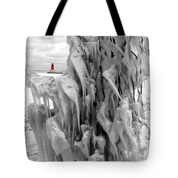 Tote Bag featuring the photograph Cradled In Ice - Menominee North Pier Lighthouse by Mark J Seefeldt