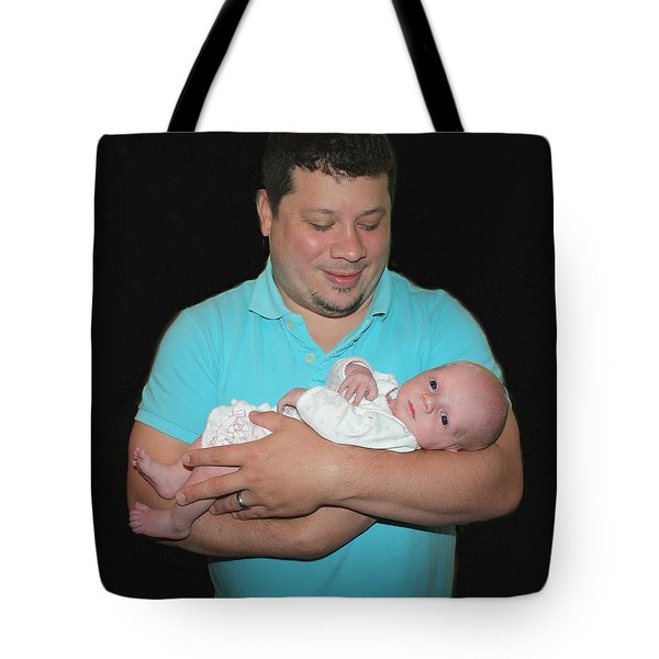Cradling His Newborn Tote Bag