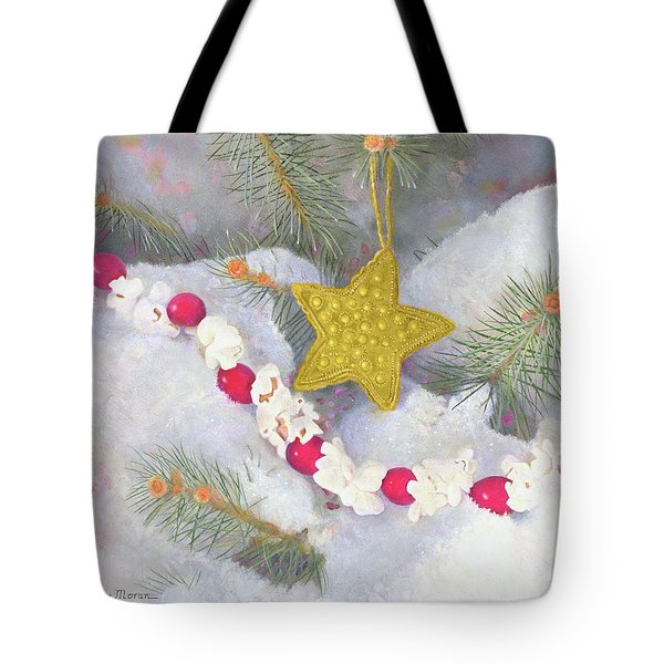 Tote Bag featuring the painting Cranberry Garland With Gold Christmas Star by Nancy Lee Moran
