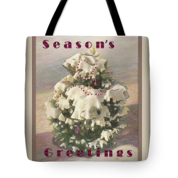 Tote Bag featuring the painting Cranberry Garlands Christmas Blue Spruce by Nancy Lee Moran
