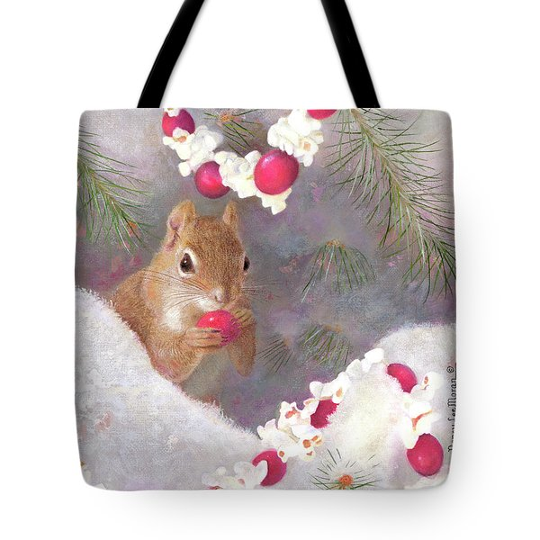 Tote Bag featuring the painting Cranberry Garlands Christmas Squirrel by Nancy Lee Moran