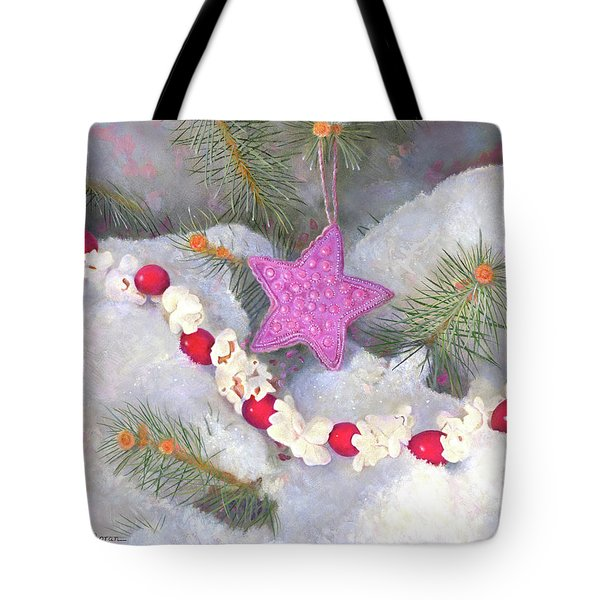 Tote Bag featuring the painting Cranberry Garlands Christmas Star In Orchid by Nancy Lee Moran