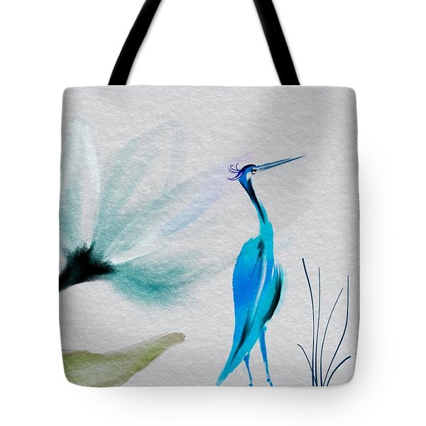 Crane And Flower Abstract Tote Bag by Frank Bright