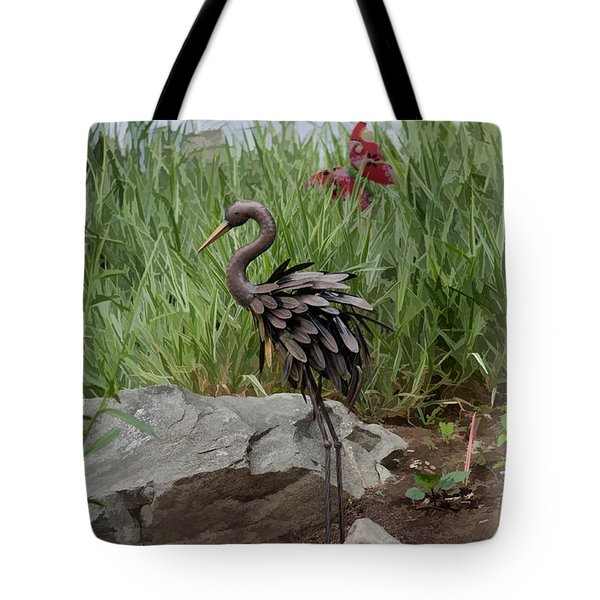 Crane Tote Bag by Cherie Duran