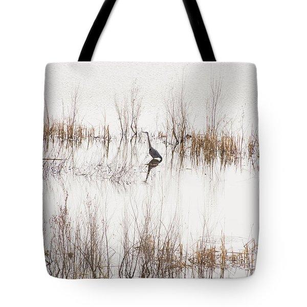 Crane In Reeds Tote Bag