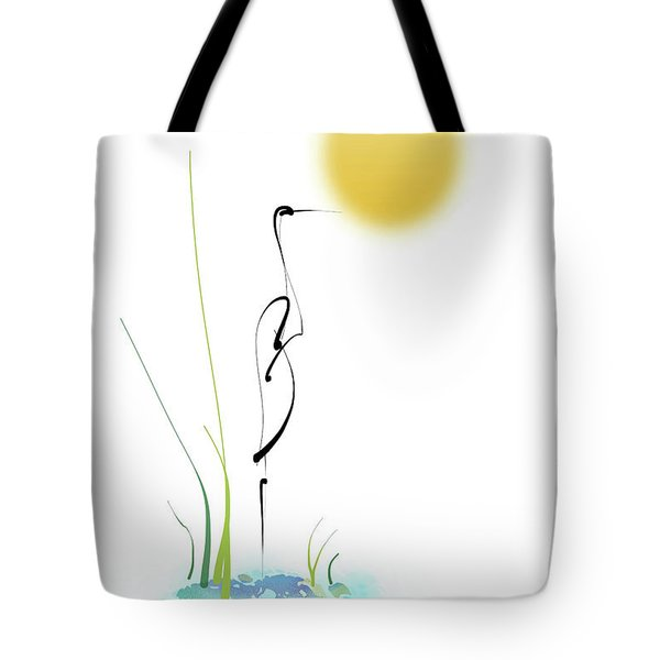 Tote Bag featuring the mixed media Crane by Larry Talley