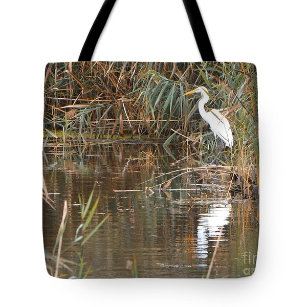 Crane Reflection Tote Bag by Erick Schmidt