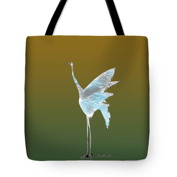 Tote Bag featuring the digital art Crane Sketch by Asok Mukhopadhyay