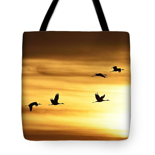Tote Bag featuring the photograph Cranes At Sunrise 2 by Larry Ricker