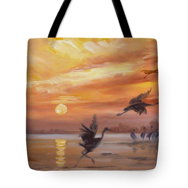 Cranes - Golden Sunset Tote Bag